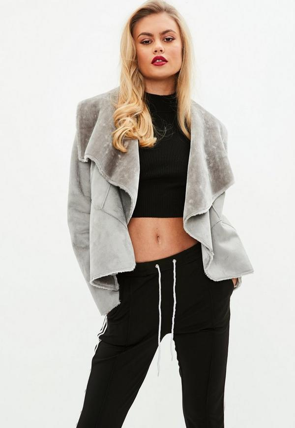 Faux Shearling Waterfall Jacket Grey