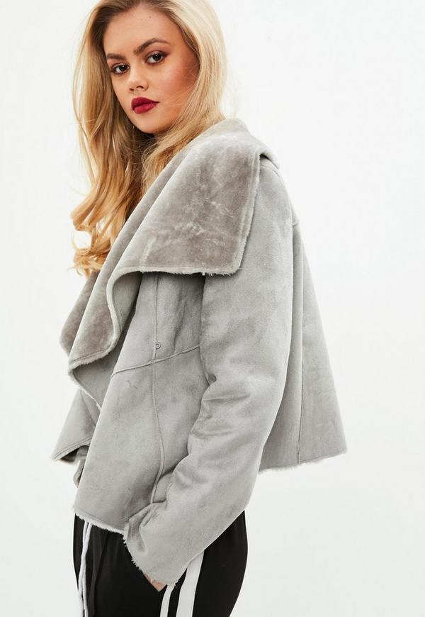 Faux Shearling Waterfall Jacket Gray | Missguided