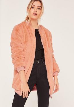 Pink Longline Faux Fur Bomber Jacket