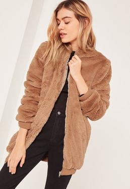 Brown Hooded Faux Fur Bomber Jacket