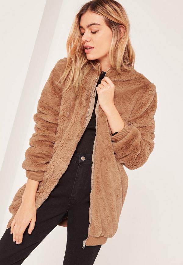 Brown Hooded Faux Fur Bomber Jacket