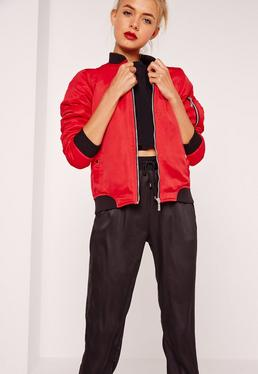 Soft Touch Bomber Jacket Red