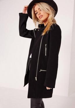 Collarless Biker Coat Black