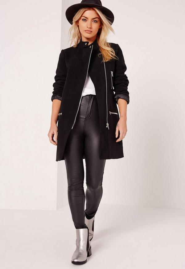Collarless Biker Coat Black - Missguided