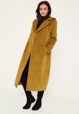Green Premium Military Faux Wool Maxi Coat