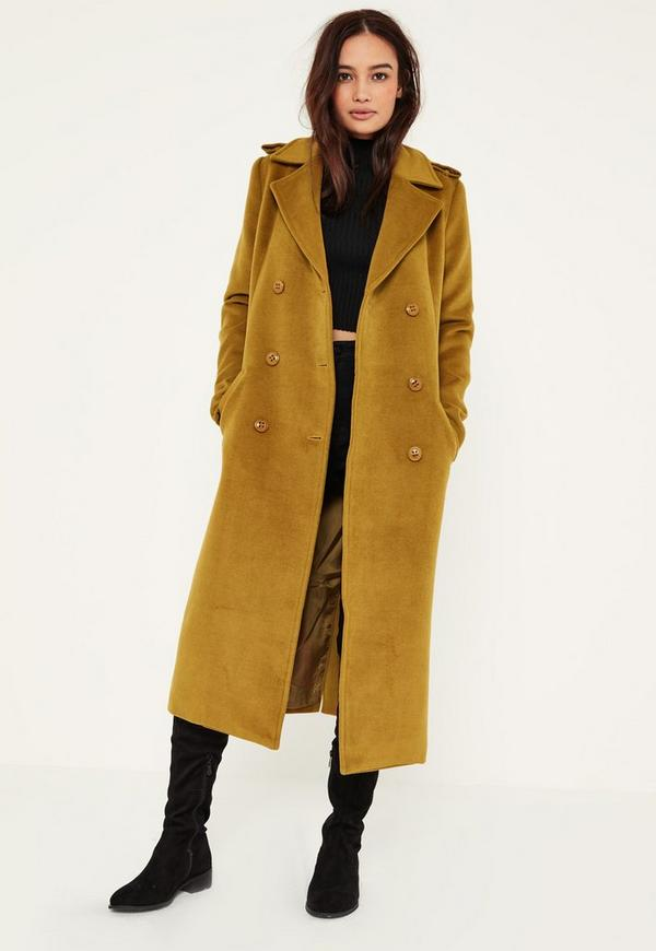Green Premium Military Faux Wool Maxi Coat | Missguided
