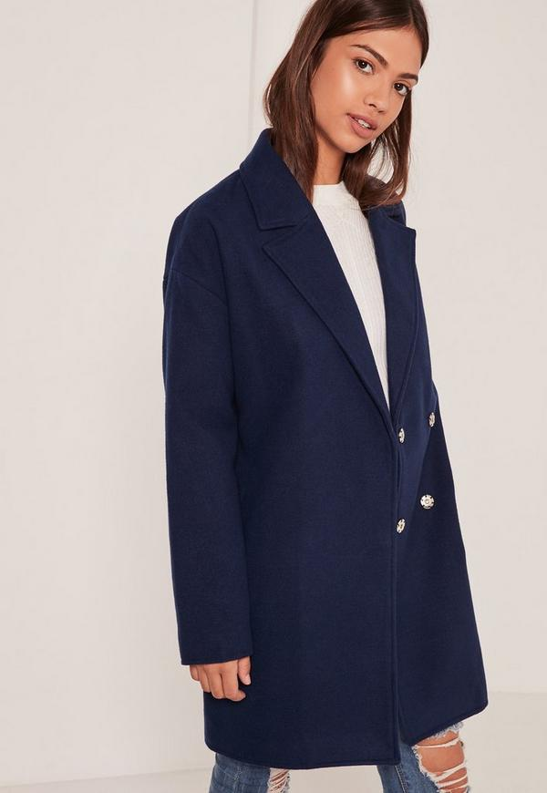 Navy Drop Shoulder Double Breasted Faux Wool Coat