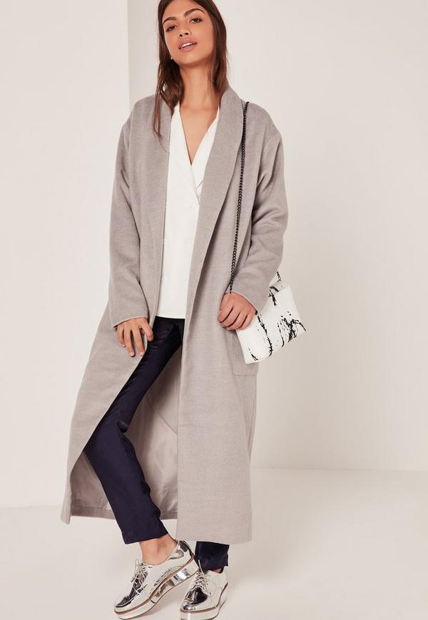Textured Shawl Collar Maxi Coat Grey | Missguided