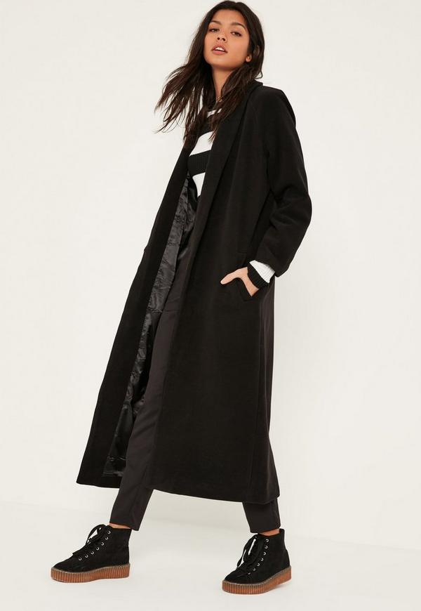 Black Shawl Collar Faux Wool Maxi Coat