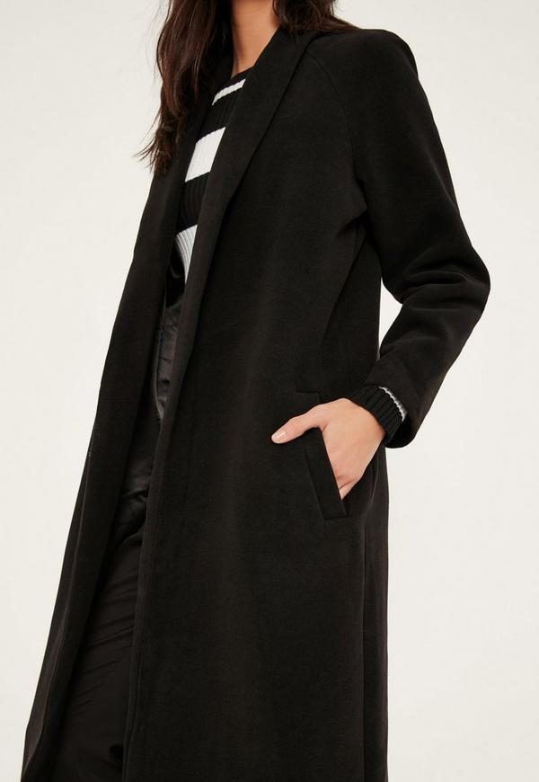 Black Shawl Collar Faux Wool Maxi Coat | Missguided
