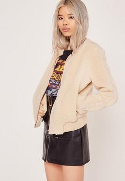 Faux Shearling Bomber Jacket Cream