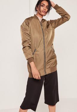 Longline Bomber Jacket Khaki