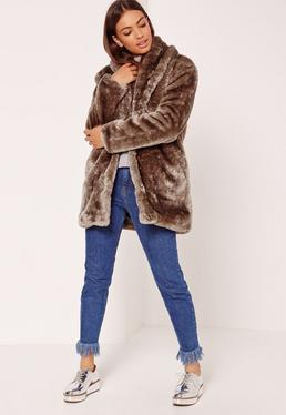 Pressed Faux Fur Coat Brown