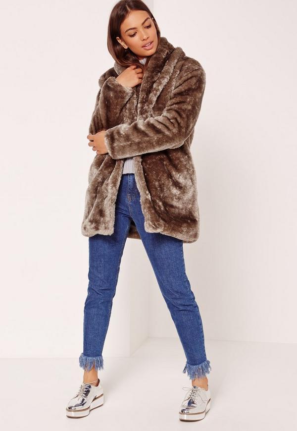 Pressed Faux Fur Coat Brown