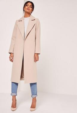 Longline Faux Wool Duster Coat Nude