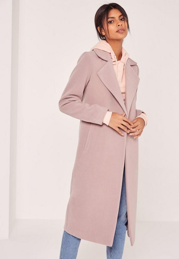 Longline Faux Wool Duster Coat Mauve   Missguided