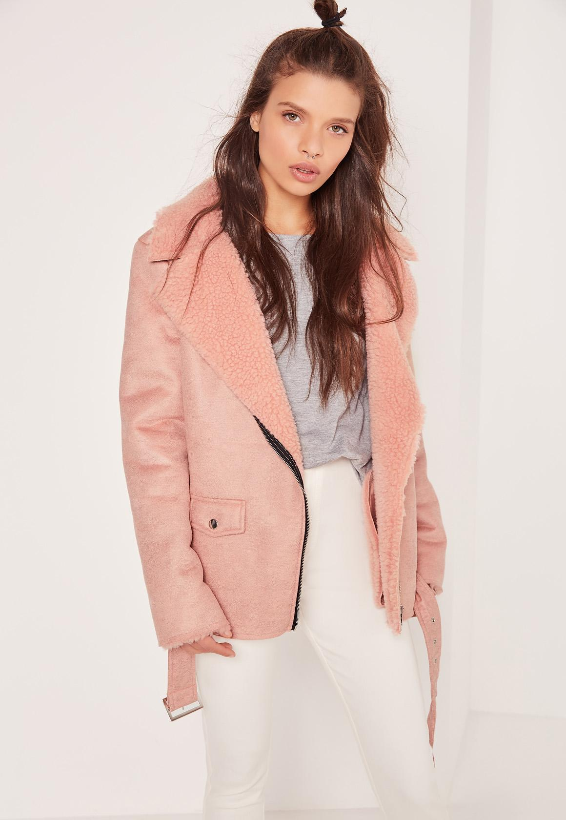 Faux Suede Shearling Lined Biker Jacket Pink | Missguided