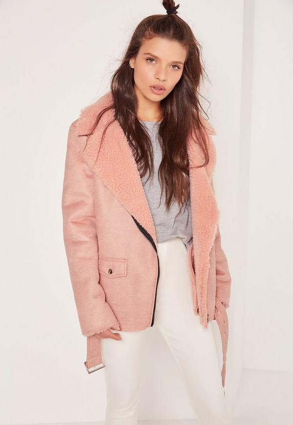 Faux Suede Shearling Lined Biker Jacket Pink