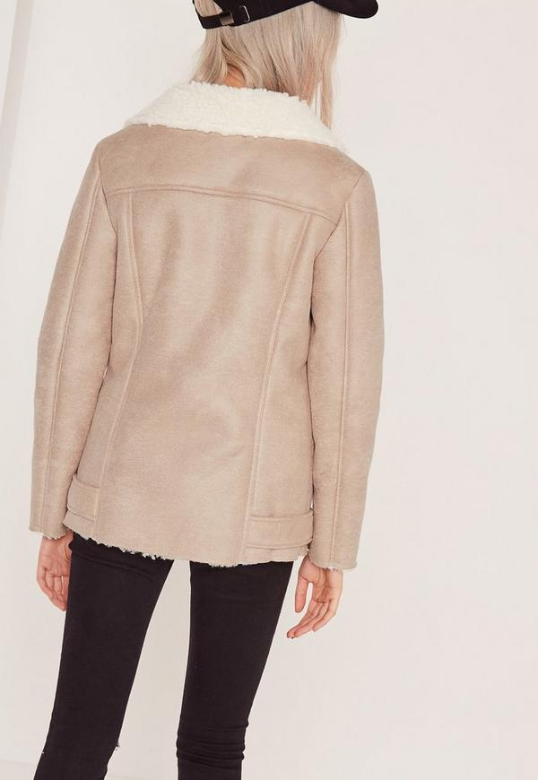 Nude Oversized Faux Suede Shearling Lined Biker Jacket | Missguided