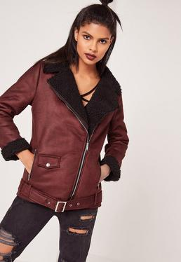 Burgundy Faux Suede Shearling Lined Aviator Biker Jacket