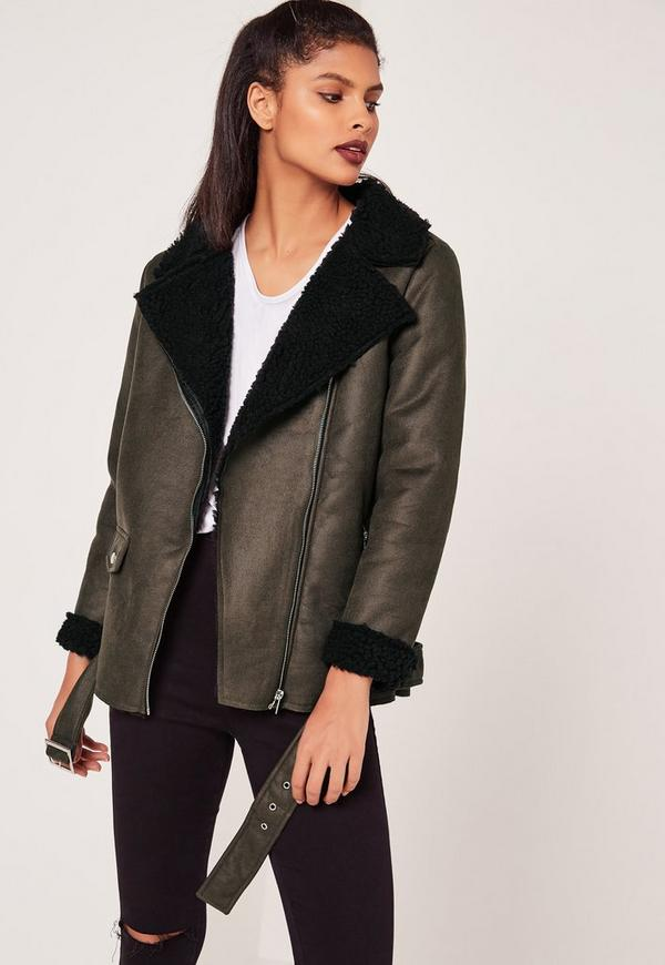 Khaki Faux Suede Shearling Lined Aviator Jacket