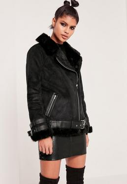 Premium Black Faux Leather Aviator Jacket
