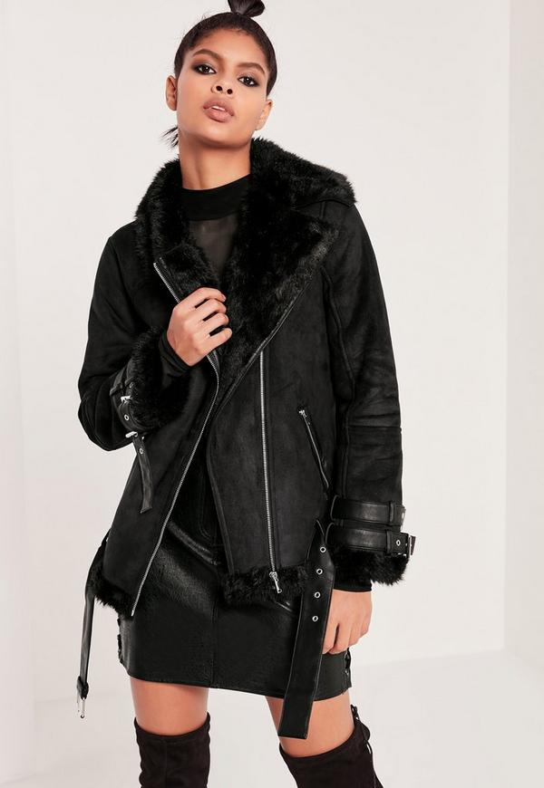 Premium Black Faux Leather Aviator Jacket | Missguided