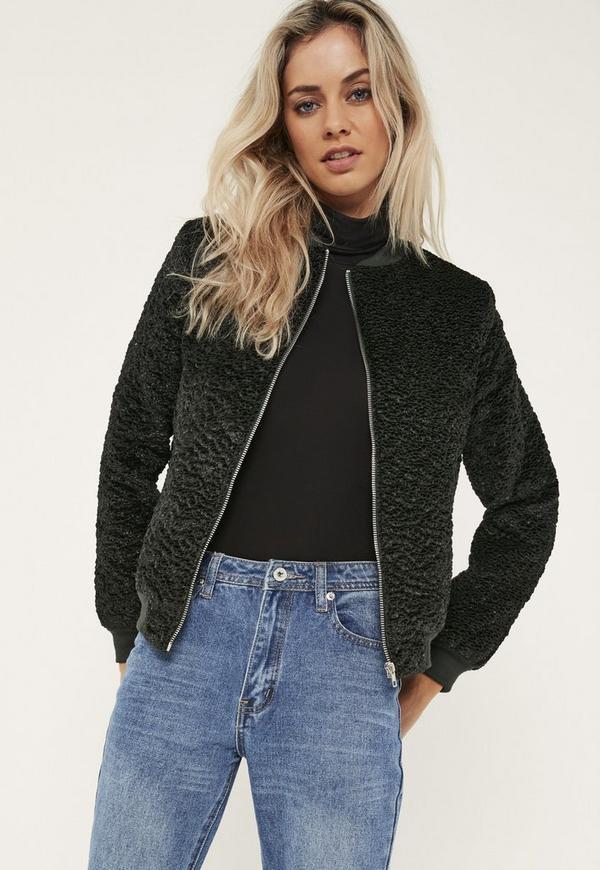 Green Faux Wool Bomber Jacket