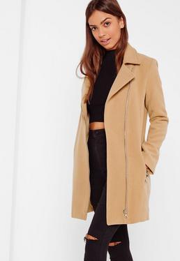 Faux Wool Biker Coat Camel