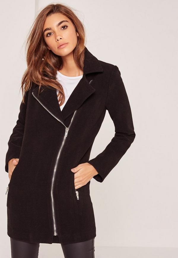 Faux Wool Biker Coat Black