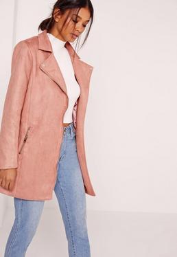 Bonded Faux Suede Biker Coat Pink