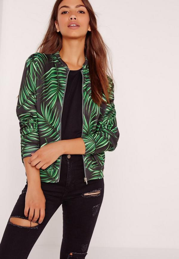 Palm Print Bomber Jacket Black