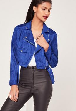 Faux Suede Biker Jacket Cobalt Blue