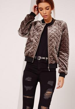 Quilted Bomber Jacket Brown