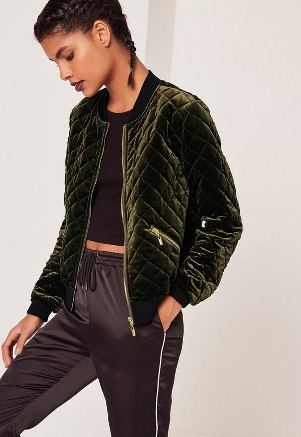 Quilted Bomber Jacket Green