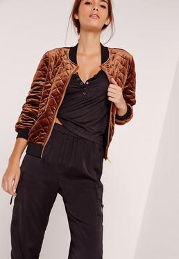 Quilted Bomber Jacket Bronze