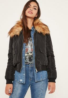Black Faux Fur Collar Utility Bomber Jacket