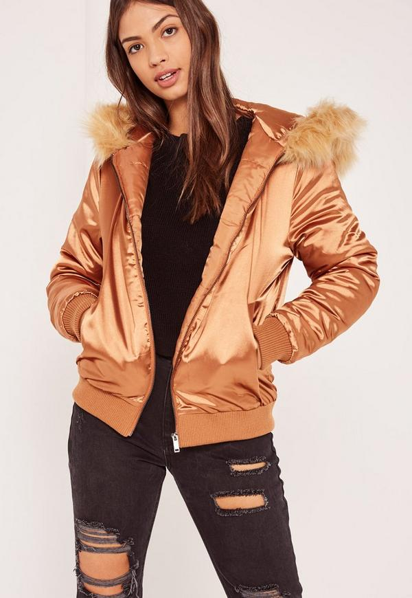 Bronze Satin Faux Fur Hood Padded Bomber Jacket