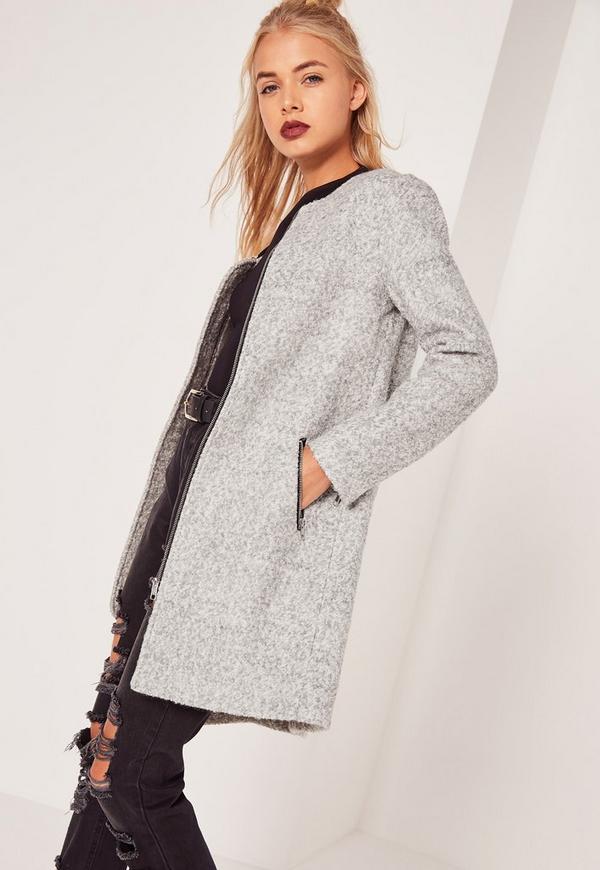 Longline Textured Wool Bomber Jacket Grey