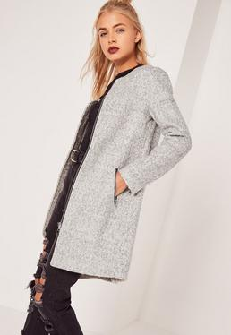 Manteau droit gris texturé en laine