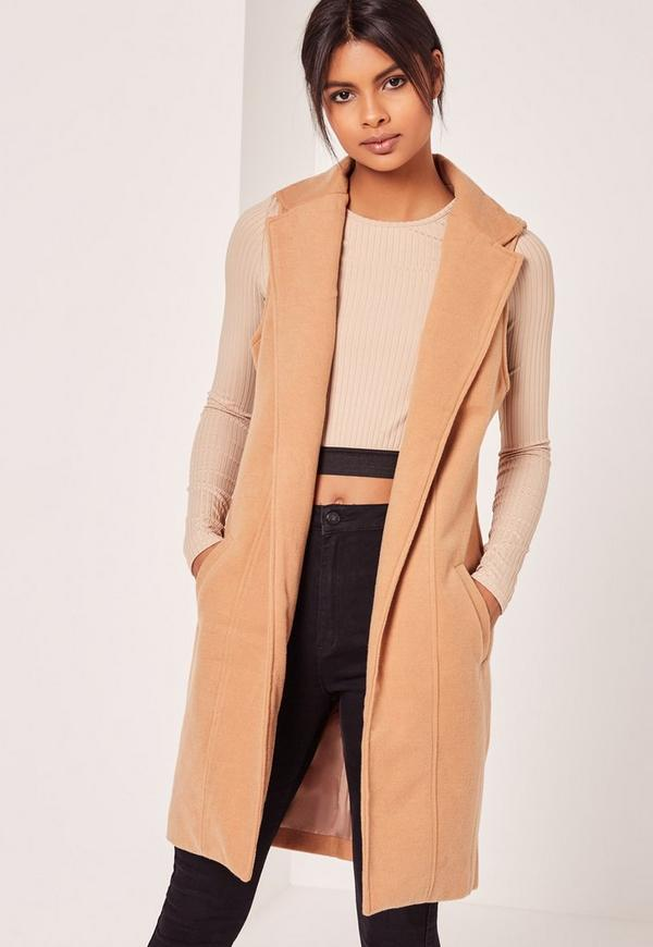 Sleeveless Tailored Faux Wool Coat Camel