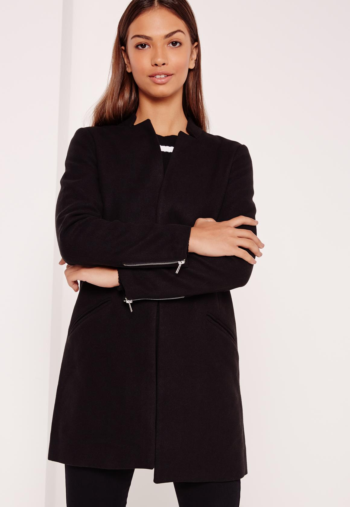 Tailored Inverted Collar Coat Black - Missguided