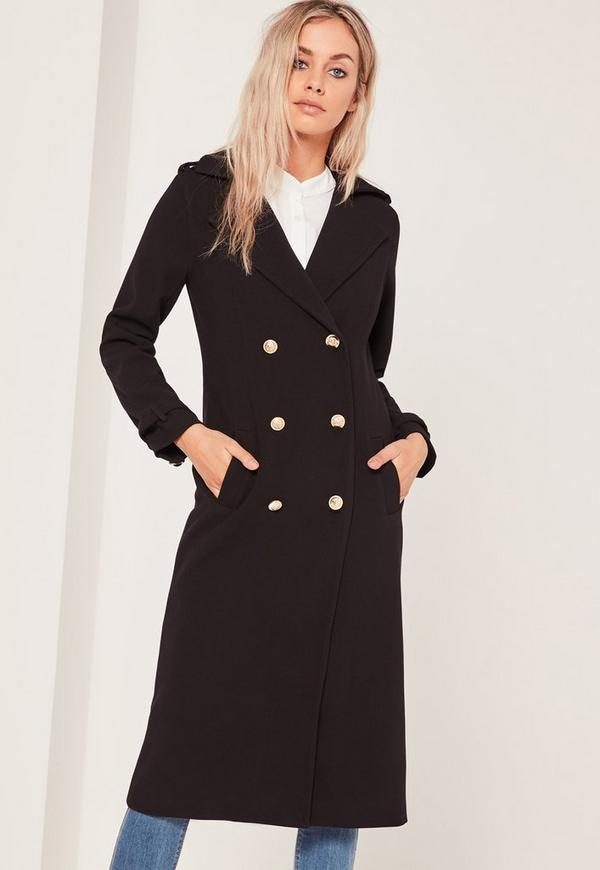 Lightweight Military Trench Coat Black