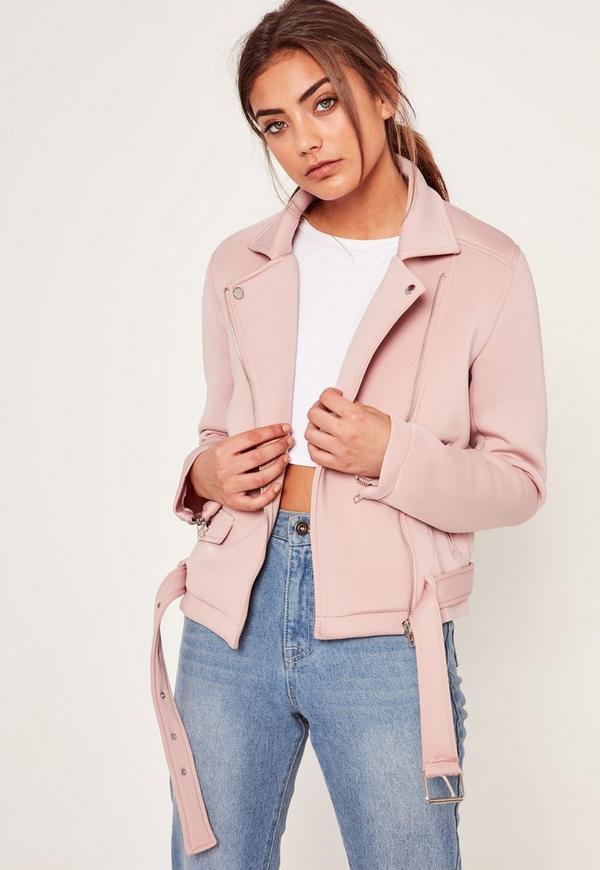 Pink Neoprene Biker Jacket