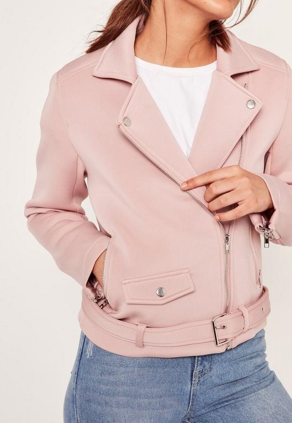 Pink Neoprene Biker Jacket | Missguided