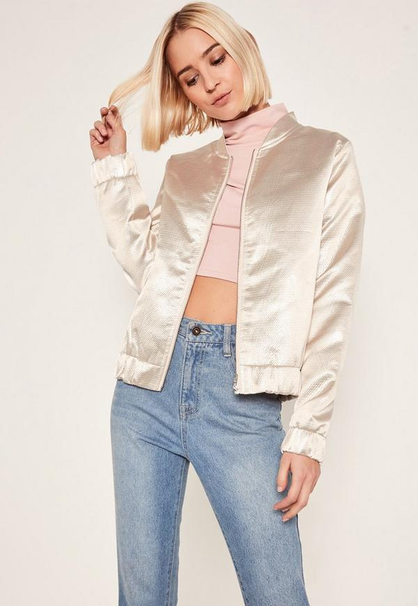 Nude Metallic Bomber Jacket