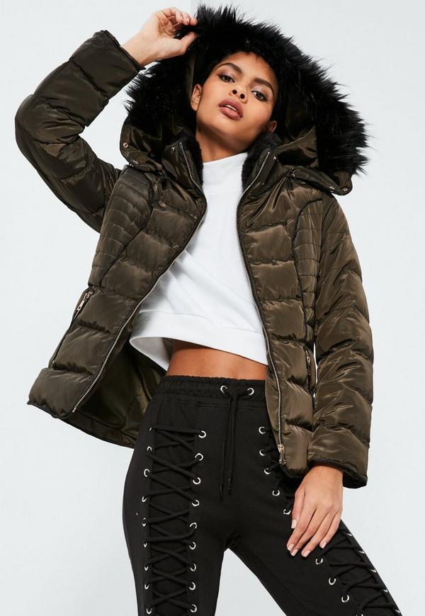 Khaki jacket with black fur hood