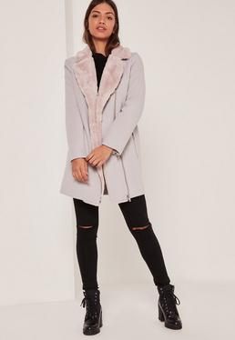 Faux Fur Lined Faux Wool Longline Biker Jacket Nude