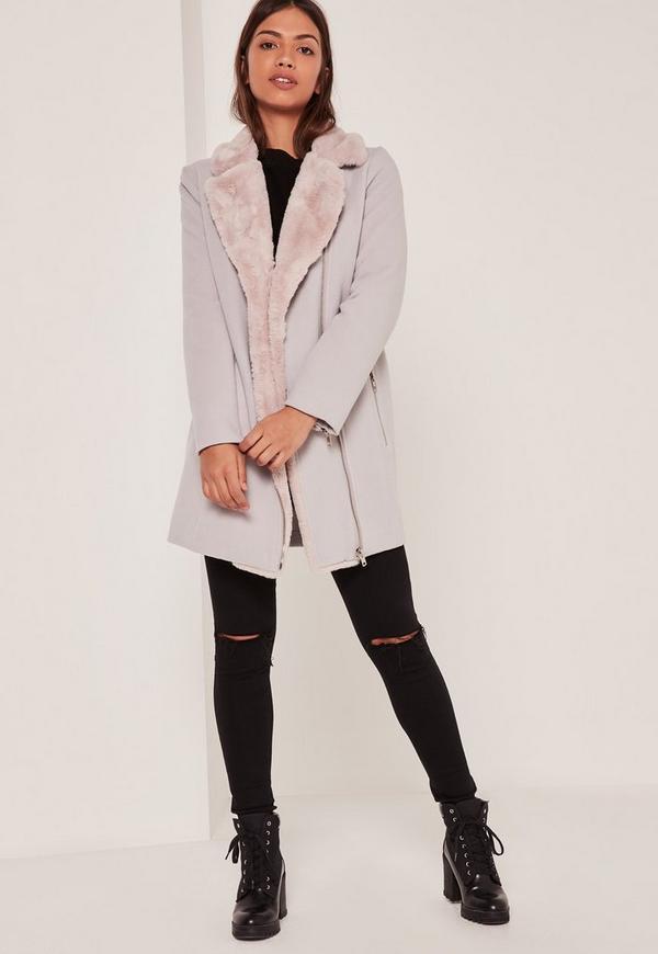 Faux Fur Lined Faux Wool Longline Biker Jacket Nude