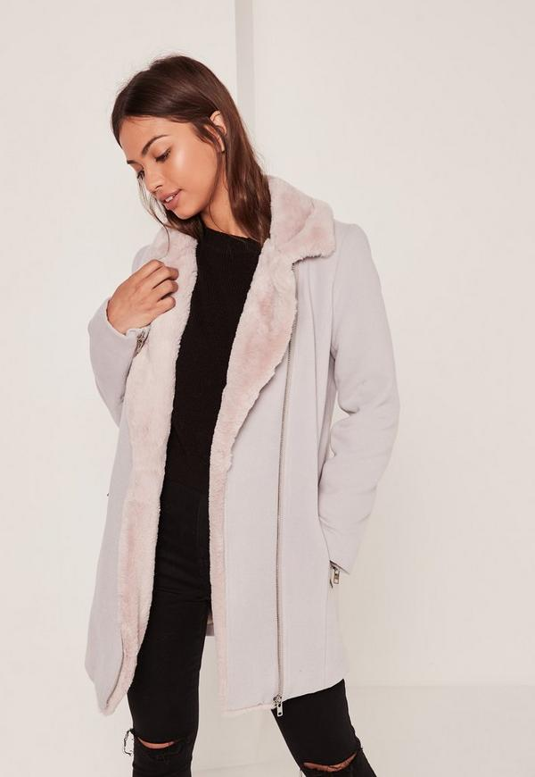 Faux Fur Lined Faux Wool Longline Biker Jacket Nude | Missguided